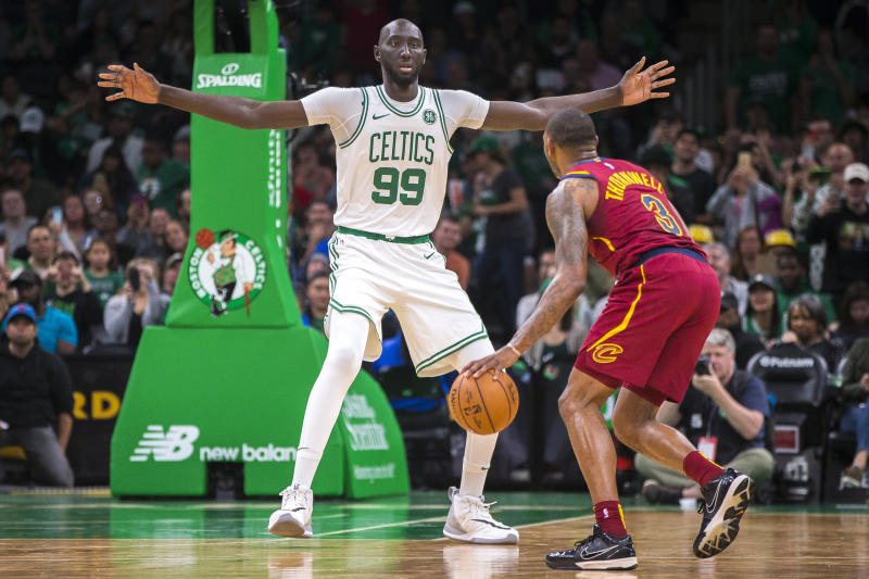 BOSTON - OCTOBER 13: Boston Celtics center Tacko Fall (99) covers Cleveland Cavaliers guard Sindarius Thornwell (3) during the fourth quarter. The Boston Celtics host the Cleveland Cavaliers in a pre-season NBA basketball game at TD Garden in Boston on Oct. 13, 2019. (Photo by Nic Antaya for The Boston Globe via Getty Images)