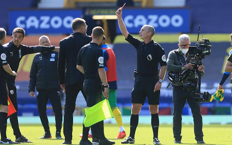 Referee Mike Dean then gave Slaven Bilic his marching orders during a half-time protest from the West Brom manager - Getty Images