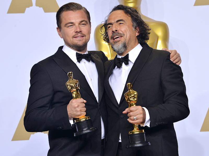 (L-R) Actor Leonardo DiCaprio, winner of Best Actor for 'The Revenant,' and director Alejandro Gonzalez Inarritu, winner of Best Director for 'The Revenant,' in the Press Room at the 88th Academy Awards Ceremony held at the Dolby Theatre in Hollywood, California on Sunday, February 28, 2016 (Photo By Sthanlee B. Mirador)