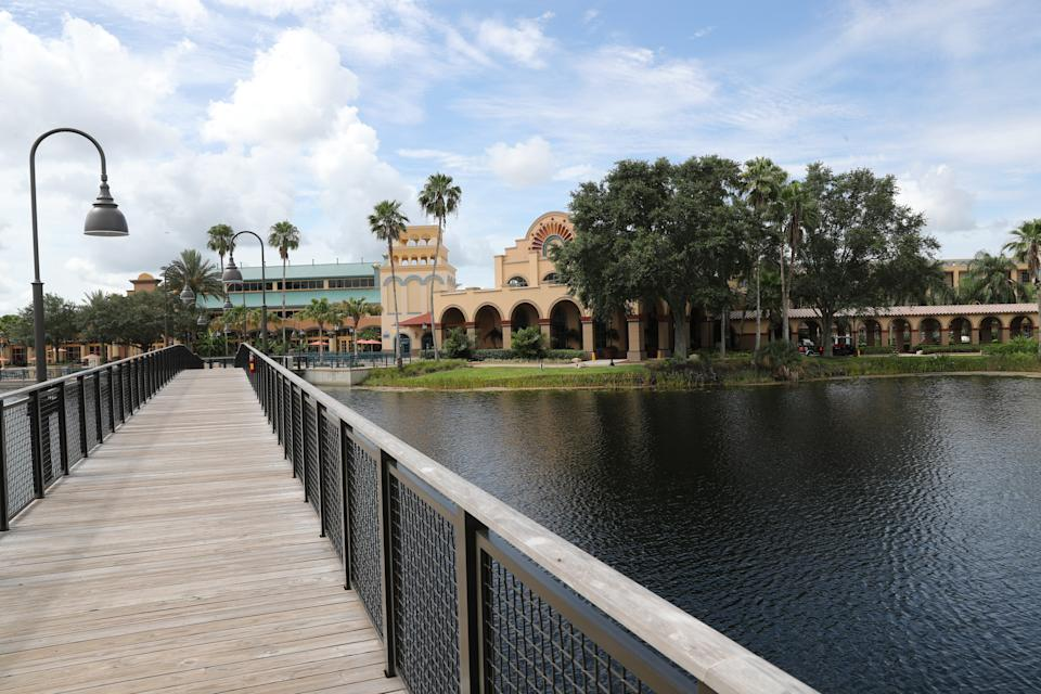 A general overall exterior view of the convention center at Disney's Coronado Springs Resort in Orlando, Florida.