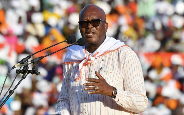 Burkina Faso President Roch Marc Christian Kabore speaks to supporters in his final campaign rally ahead of Sunday's election