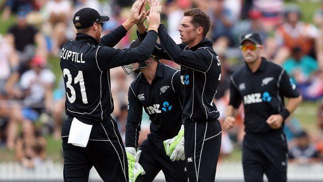 Santner celebrates his wicket. Image: Getty