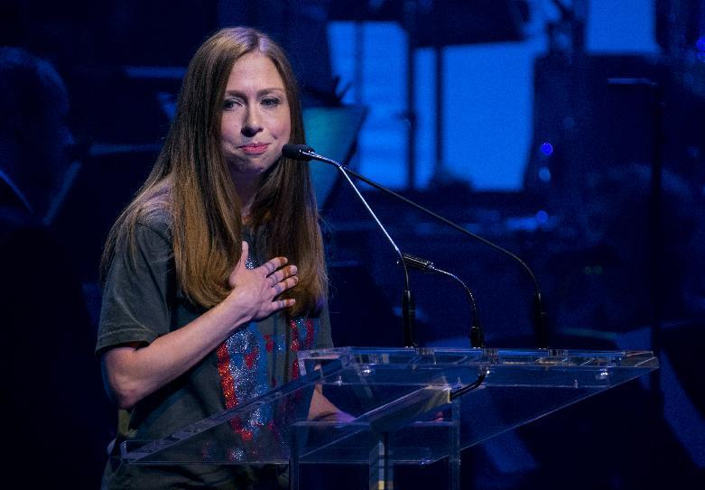 Chelsea Clinton, daughter of Hillary Clinton, speaks about her mother as she joins actors and performers as she participated during a benefit concert for the Hillary Victory Fund Monday, Oct. 17, 2016, in New York. (AP Photo/Craig Ruttle)