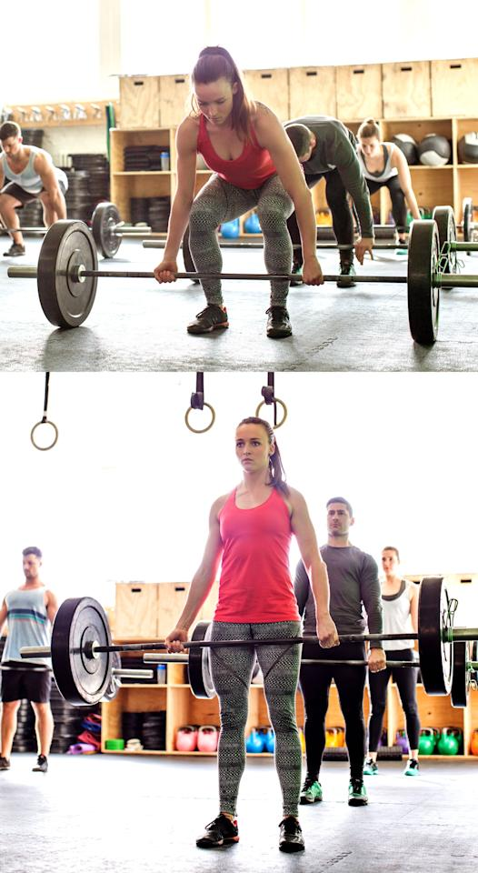 """<p>If you're not doing barbell deadlifts, <a href=""""https://www.popsugar.com/fitness/How-Do-Kettlebell-Deadlift-46219715"""" class=""""ga-track"""" data-ga-category=""""Related"""" data-ga-label=""""https://www.popsugar.com/fitness/How-Do-Kettlebell-Deadlift-46219715"""" data-ga-action=""""In-Line Links"""">here are the instructions for kettlebell deadlifts</a>.</p> <ul> <li>Stand behind the barbell with your feet hip width apart. </li> <li>Bend at your hips and knees as you grip bar with both palms facing you, or one palm facing out (mixed grip). </li> <li>Keeping your back flat and shoulders relaxed, drive your heels through the ground as you stand straight up. </li> <li>Squeeze your glutes at the top of the lift to ensure you get full hip extension. </li> <li>This counts as one rep.</li> <li>Complete 50 deadlifts.</li> </ul>"""