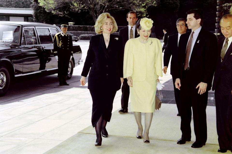 "<p>Clinton apparently ""<a href=""https://www.washingtonpost.com/news/reliable-source/wp/2015/01/29/that-time-former-first-lady-hillary-clinton-made-a-fashion-faux-pas-while-overseas-tbt/?utm_term=.1d190edc3988"" rel=""nofollow noopener"" target=""_blank"" data-ylk=""slk:baffled the Japanese"" class=""link rapid-noclick-resp"">baffled the Japanese</a>"" when she wore all-black ensembles for three days in a row on her trip in 1996. Black is pretty much our entire wardrobe, so we're a bit confused as to why it was such a big deal. </p>"