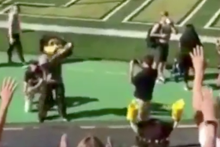 """<img alt=""""""""/><p>It's probably not an awesome idea to use a T-shirt gun if you're not absolutely sure which end the tees are meant to come out. Alas, this was the grievous mistake that led to a mascot injury last week.</p> <p>The University of Colorado's mascot Chip the Buffalo was carted off the field during a football game against the University of New Hampshire last week after shooting a T-shirt gun in the wrong direction, <a rel=""""nofollow"""" href=""""https://www.buzzfeed.com/connieesch/mascot-taken-off-field-after-taking-a-t-shirt-cannon?bftw&utm_term=4ldqpfp#4ldqpfp"""">according to Buzzfeed</a>. </p> <div><p>SEE ALSO: <a rel=""""nofollow"""" href=""""http://mashable.com/article/good-dog-fetches-tee?utm_campaign&utm_cid=a-seealso&utm_context=textlink&utm_medium=rss&utm_source"""">Good dog wins over the hearts of college football fans</a></p></div> <p>Instead of sending a tee into the crowd as intended, he shot himself. Ouch.</p> <p>Chip — well, technically the person behind the Chip costume — was then carted off the field to seek medical attention.</p> <p>You can see the whole unfortunate incident unfurl in the two tweets shared by <a rel=""""nofollow"""" href=""""https://twitter.com/JoshParcell"""">Josh Parcell </a>and <a rel=""""nofollow"""" href=""""https://twitter.com/LindsayJoyTV"""">Lindsay Joy</a> below:</p> <div><div></div></div> <div><div><blockquote> <p>Something you don't see every day: Chip the Buffalo's t-shirt gun malfunctioned and he had to be carted off the field! Never took his head off though... respect the commitment <a rel=""""nofollow"""" href=""""https://twitter.com/hashtag/footballguy?src=hash&ref_src=twsrc%5Etfw"""">#footballguy</a> <a rel=""""nofollow"""" href=""""https://t.co/qi0lrPM4Dk"""">pic.twitter.com/qi0lrPM4Dk</a></p> <p>— Lindsay Joy (@LindsayJoyTV) <a rel=""""nofollow"""" href=""""https://twitter.com/LindsayJoyTV/status/1041092685166075904?ref_src=twsrc%5Etfw"""">September 15, 2018</a></p> </blockquote></div></div> <p>Despite the mascot's absence on the field, Colorado still <a rel=""""nofollow"""" href=""""https:/"""