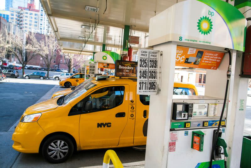 Taxis are seen at a gas station while gasoline price has been declined due to coronavirus disease (COVID-19) in New York
