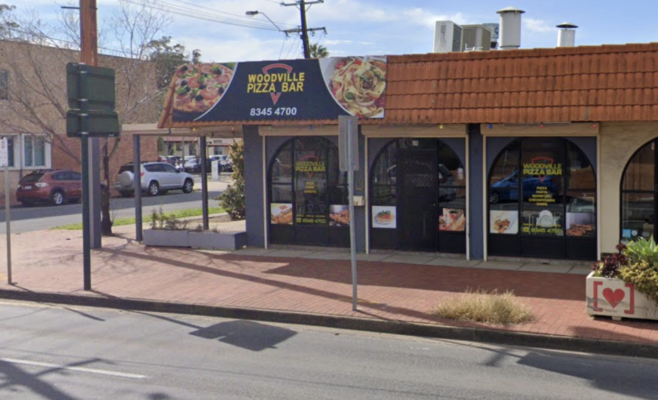 The exterior of the Woodville Pizza Bar in Adelaide.