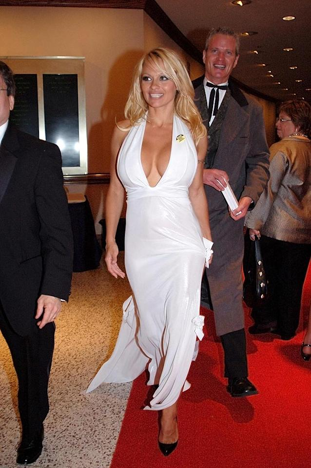 """Pamela Anderson reminded everyone in attendance that spring is busting out all over! Gene Young/<a href=""""http://www.splashnewsonline.com"""" target=""""new"""">Splash News</a> - April 26, 2008"""