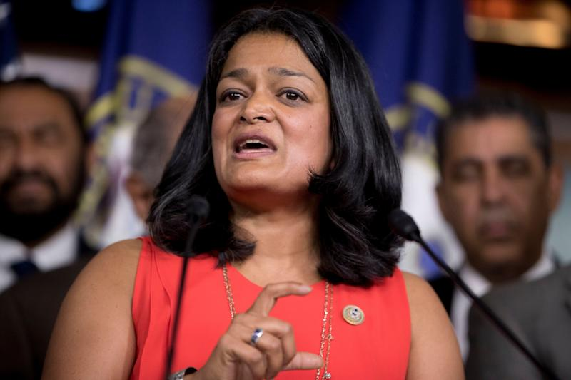 Rep. Pramila Jayapal, D-Wash., speaks at a Congressional Tri-Caucus news conference on Capitol Hill on Sept. 27, 2017, on injustice and inequality in America. (Photo: Andrew Harnik/AP)