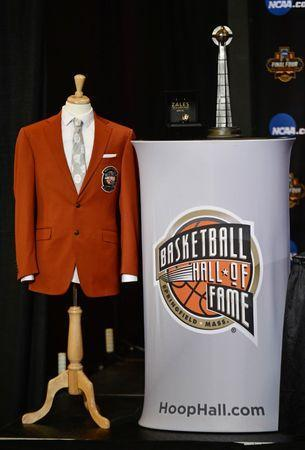 Apr 1, 2017; Glendale, AZ, USA; A view of the basketball hall of fame jacket during the Naismith Hall of Game Press Conference at University of Phoenix Stadium. Mandatory Credit: Joe Camporeale-USA TODAY Sports