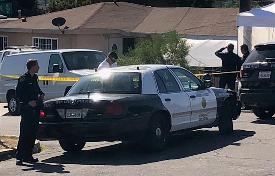 San Diego police at the scene of a suspected murder-suicide involved five members of the same family.