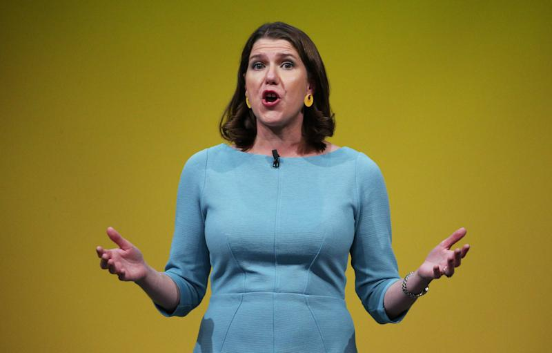 Liberal Democrat leader Jo Swinson makes a speech during the Liberal Democrats autumn conference at the Bournemouth International Centre in Bournemouth. (Photo by Jonathan Brady/PA Images via Getty Images)