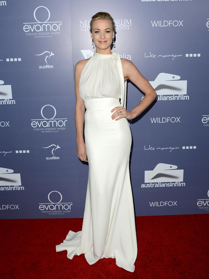 CENTURY CITY, CA - JUNE 27:  Actress Yvonne Strahovski arrives at Australians In Film Awards & Benefit Dinner at InterContinental Hotel on June 27, 2012 in Century City, California.  (Photo by Jason Merritt/Getty Images for AIF)