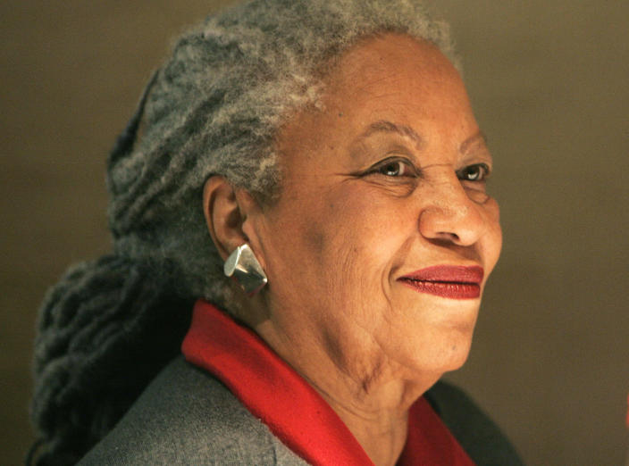 FILE - In this Nov. 8, 2006, file photo, American novelist Toni Morrison, smiles during a press conference at the Louvre Museum in Paris. In offering tribute to Morrison, speakers from Oprah Winfrey to Fran Lebowitz on Thursday, Nov. 21, 2019, each shared a very different, but equally special portrait of the late Nobel laureate, at a celebration of life held at Manhattan's historic Cathedral of St. John the Divine. Morrison died in August at 88. (AP Photo/Michel Euler, File)