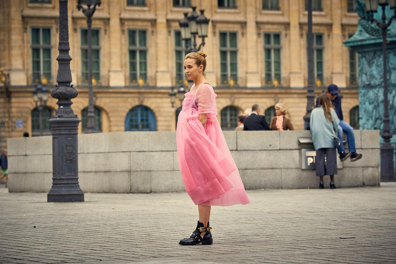 <p>Almost as many people were talking about Villanelle's huge, tulle dress as they were the show itself. The pink number was created by London Fashion Week designer Molly Goddard. <em>[Photo: Getty]</em> </p>