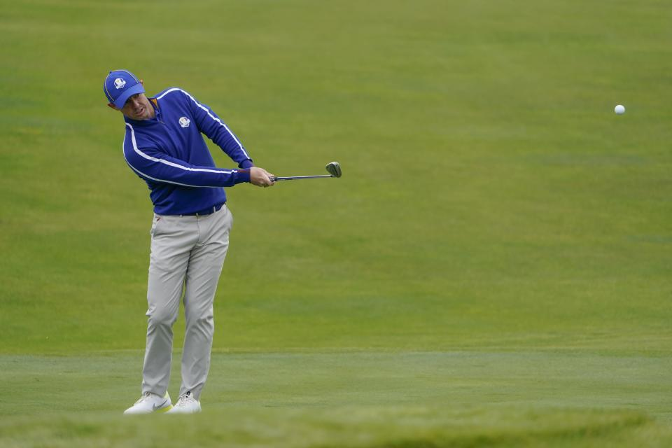 Team Europe's Rory McIlroy hits on the 11th hole during a practice day at the Ryder Cup at the Whistling Straits Golf Course Tuesday, Sept. 21, 2021, in Sheboygan, Wis. (AP Photo/Jeff Roberson)