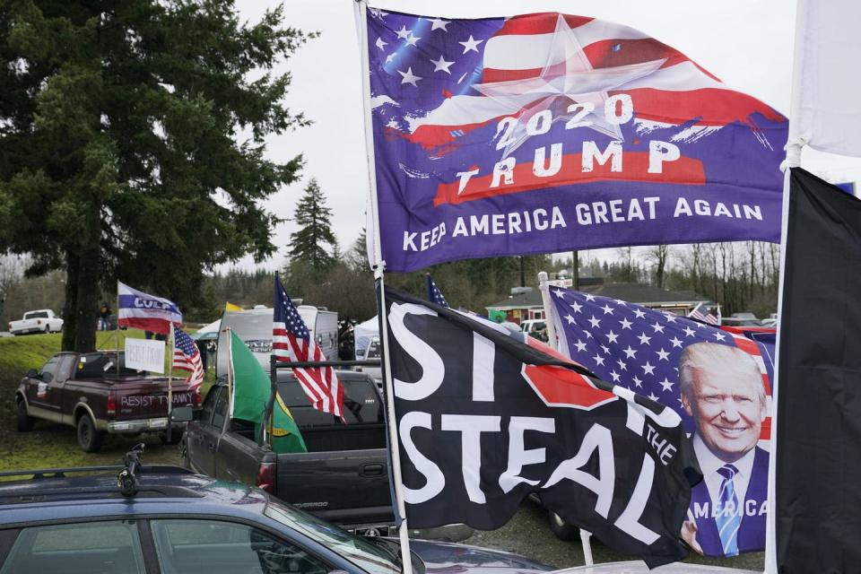 Trump and Stop the Steal signs