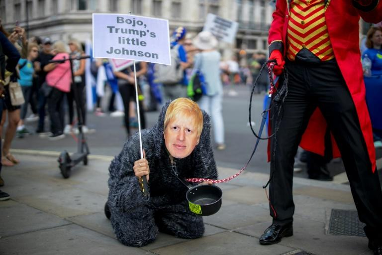 An anti-Brexit campaigner dressed as Conservative party leadership contender Boris Johnson takes part in the March for Change 'No to Boris:Yes to Europe' demonstration in central London (AFP Photo/Tolga Akmen)