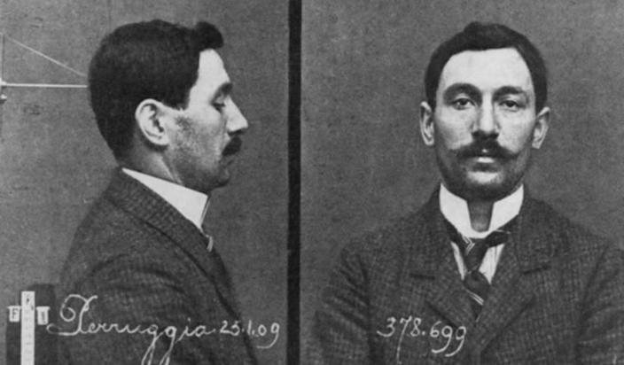 Mugshots of Vincenzo Perruggia, an employee of the Louvre