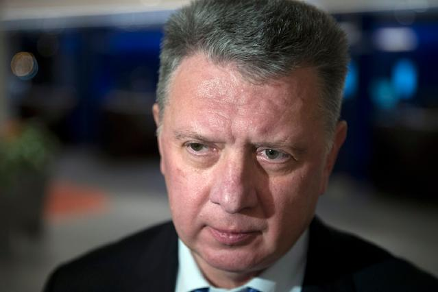 FILE - In this file photo dated Monday, Jan. 23, 2017, the president of the All-Russia Athletic Federation, Dmitry Shlyakhtin, speaks to the media in Moscow, Russia. Dmitry Shlyakhtin was suspended Thursday Nov. 21, 2019, on suspicion of obstructing an anti-doping investigation in a blow to Russia's preparations for the 2020 Olympics. (AP Photo/Pavel Golovkin, FILE)