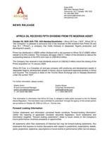 Africa Oil Receives Fifth Dividend From Its Nigerian Asset (CNW Group/Africa Oil Corp.)