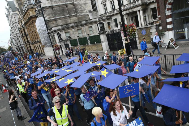 Previous pro-EU demonstrations such as this one in September have drawn thousands of people: AFP/Getty