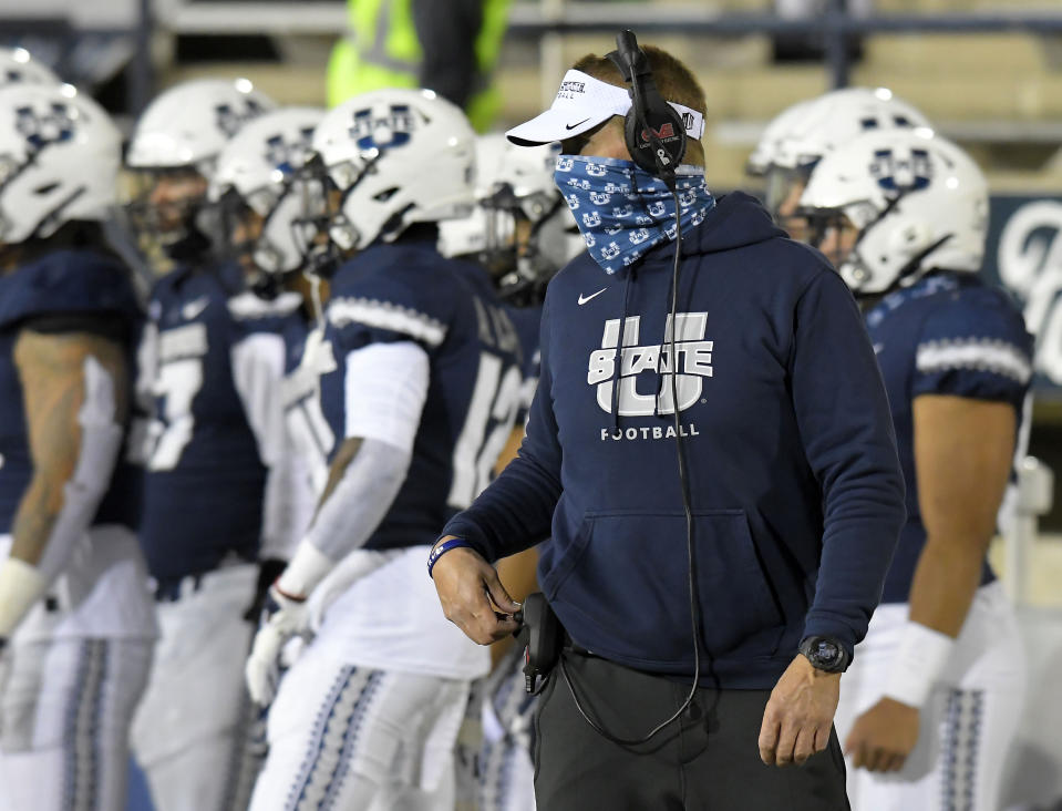 Utah State coach Gary Andersen watches the team during the first half of an NCAA college football game against San Diego State, Saturday, Oct. 31, 2020, in Logan, Utah. (Eli Lucero/The Herald Journal via AP, Pool)