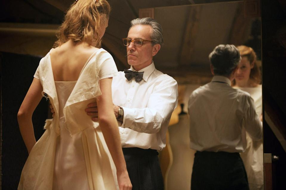 """<p>Paul Thomas Anderson's <strong>Phantom Thread</strong> follows the life of difficult fashion designer Reynolds Woodcock, who is played by Daniel Day-Lewis in his final role before retirement. Woodcock begins a relationship with a waitress named Alma, who becomes his muse. While their love is rosy at first, Alma poisons Reynolds with mushrooms as a means of retaliating against his abusive behavior. </p> <p>Watch <a href=""""https://play.hbomax.com/page/urn:hbo:page:GW0-YlAAxOZFDwgEAAAHy:type:feature"""" class=""""link rapid-noclick-resp"""" rel=""""nofollow noopener"""" target=""""_blank"""" data-ylk=""""slk:Phantom Thread""""><strong>Phantom Thread</strong></a> on HBO Max now.</p>"""