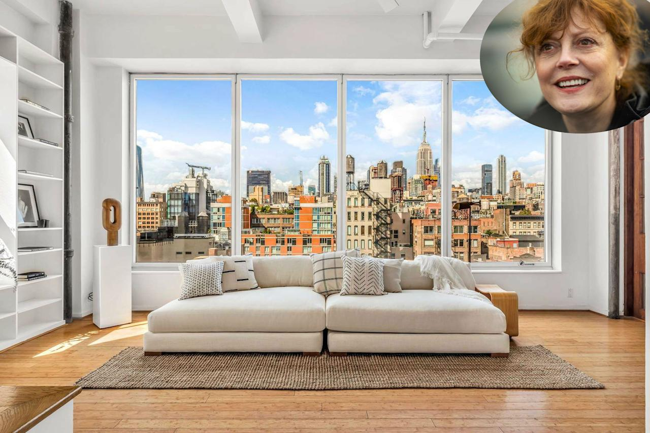 "Susan Sarandon ha puesto a la venta su dúplex en Nueva York. Como se aprecia en esta imagen, el apartamento de 560 metros cuadrados tiene unas impactantes vistas de la ciudad, así como un cuidado estilo minimalista. (Foto: <a href=""https://loft147.com/"">Sotheby's International Realty</a> / Mark Makela / Getty Images)"