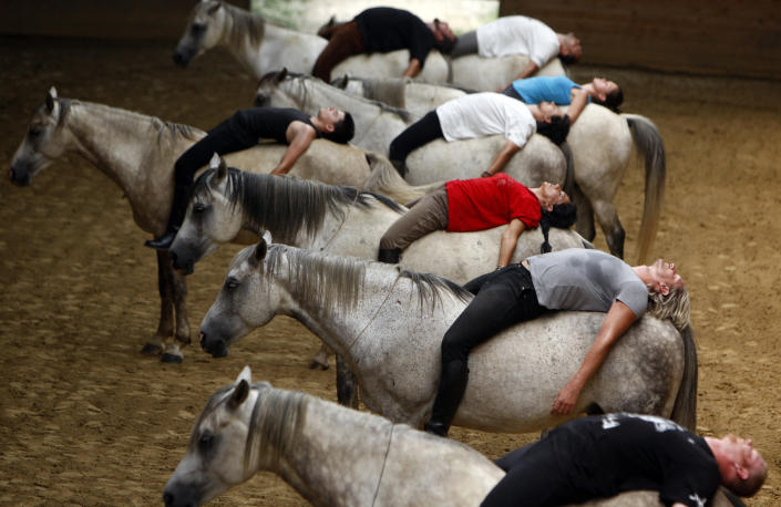 Riders practice for a show on their horses at a farm in Kaposmero, 190 km (118 miles) west of Budapest, August 3, 2011. (Photo: REUTERS/Bernadett Szabo)