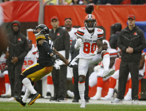 Cleveland Browns wide receiver Jarvis Landry (80) catches a pass against Pittsburgh Steelers defensive back Joe Haden (23) during the first half of an NFL football game, Sunday, Sept. 9, 2018, in Cleveland. (AP Photo/Ron Schwane)