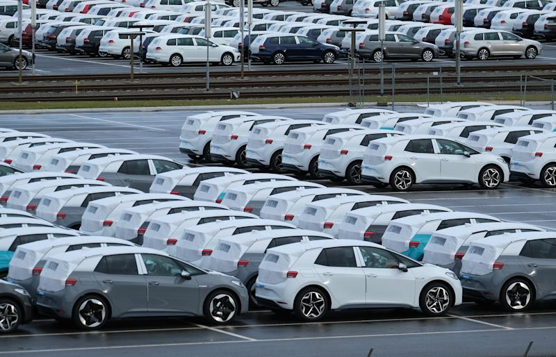 ZWICKAU, GERMANY - FEBRUARY 25: Newly-built ID.3 electric cars stand parked at the Volkswagen factory on February 25, 2020 in Zwickau, Germany. Volkswagen is gradually revving up ID.3 production at the Zwickau plant from a current 110 per day to an eventual 1,500. The Zwickau plant is the first of its many factories that Volkswagen is retooling from producing combustion engine cars to only producing electric cars. Sales of the ID.3 will begin this summer. (Photo by Sean Gallup/Getty Images)