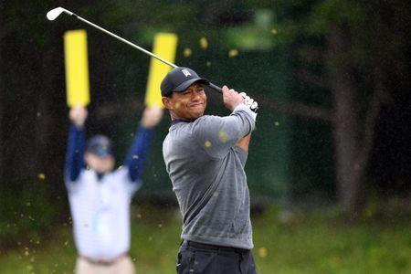 Jun 15, 2018; Southampton, NY, USA; Tiger Woods tees off the second hole during the second round of the U.S. Open golf tournament at Shinnecock Hills GC - Shinnecock Hills Golf C. Mandatory Credit: Dennis Schneidler-USA TODAY Sports