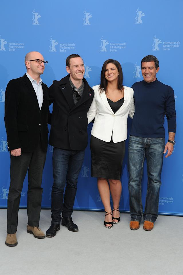 "BERLIN, GERMANY - FEBRUARY 15:  (L-R) Director Steven Soderbergh, actors Michael Fassbender, Gina Carano and Antonio Banderas attends the ""Haywire"" Photocall during day seven of the 62nd Berlin International Film Festival at the Grand Hyatt on February 15, 2012 in Berlin, Germany.  (Photo by Pascal Le Segretain/Getty Images)"