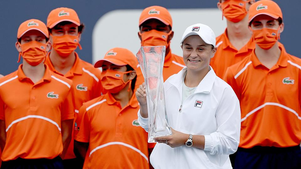 Ash Barty, pictured here with the ball kids after winning the Miami Open.