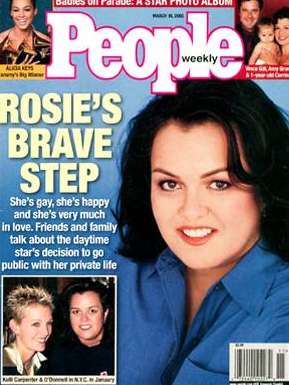 <p>Rosie O'Donnell came out in 2002 in an effort to shed light on Florida's ban on gay adoption. (Photo: People Magazine) </p>