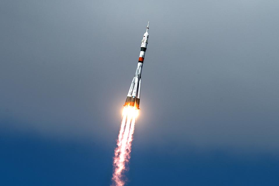 A Russian Soyuz rocket soars toward the International Space Station with three Expedition 63 crewmembers after lifting off from the Baikonur Cosmodrome in Kazakhstan today (April 9) at 4:05 a.m. EDT (0805 GMT or 1:05 p.m. local Kazakh time). The Soyuz MS-16 crew capsule safely arrived at the orbiting laboratory about six hours later, with NASA astronaut Chris Cassidy and Russian cosmonauts Anatoli Ivanishin and Ivan Vagner on board.