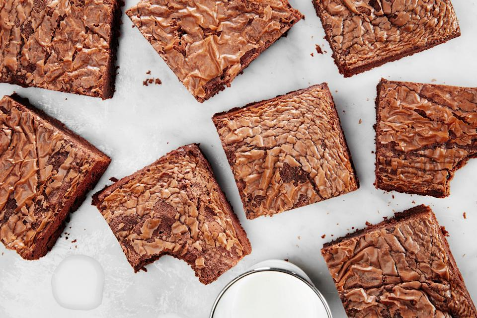"""It's so, so easy to turn your favorite chocolate-hazelnut spread into a rich, decadent bar cookie. <a href=""""https://www.epicurious.com/recipes/food/views/3-ingredient-nutella-brownies?mbid=synd_yahoo_rss"""" rel=""""nofollow noopener"""" target=""""_blank"""" data-ylk=""""slk:See recipe."""" class=""""link rapid-noclick-resp"""">See recipe.</a>"""