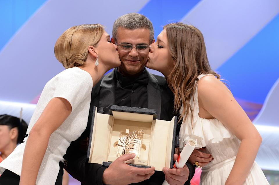 Léa Seydoux, Abdellatif Kechiche, and Adele Exarchopoulos at the 66th Cannes Film Festival in 2013
