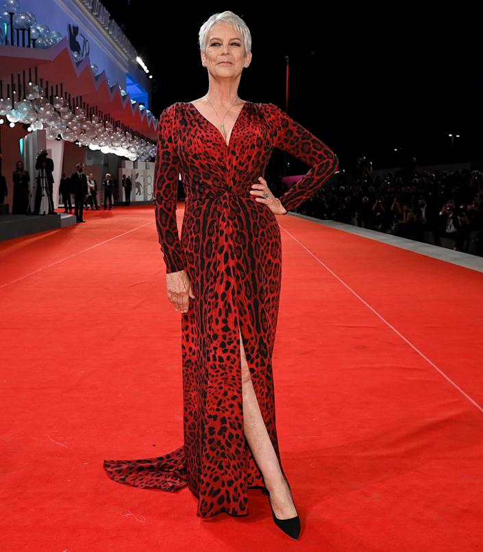 <p>Jamie Lee Curtis poses on the red carpet for the movie <em>Halloween Kills</em> during the 78th Venice International Film Festival on Sept. 8 in Italy.</p>