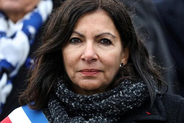 Paris' mayor Anne Hidalgo attends a ceremony at the Arc de Triomphe