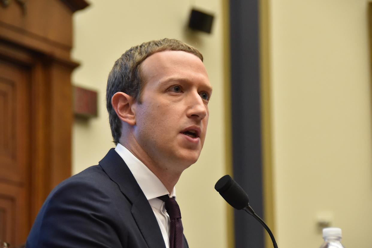 WASHINGTON, DC - OCTOBER 23: Facebook co-founder and CEO Mark Zuckerberg speaks during a House Financial Services Committee hearing October 23, 2019 in Washington, DC. (Photo by Sha Hanting/China News Service/VCG via Getty Images)