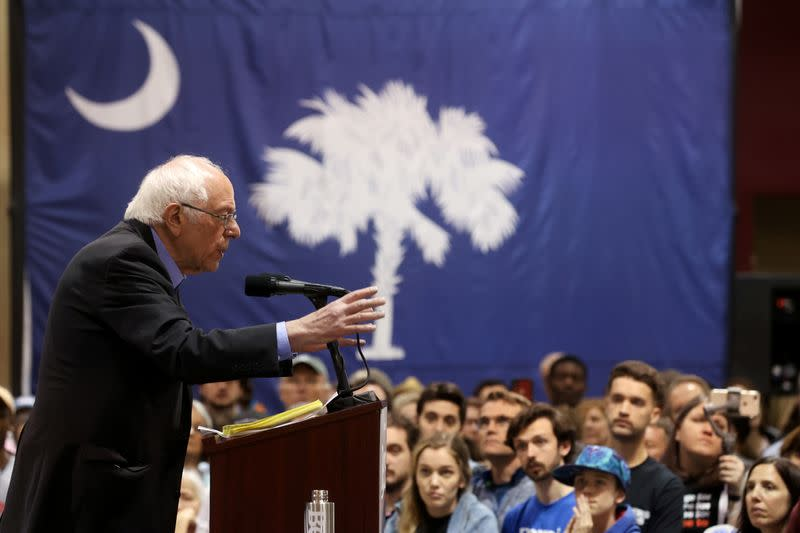 Democratic 2020 U.S. presidential candidate Sanders rallies in North Charleston, South Carolina