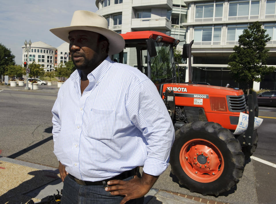 Farmer John W. Boyd Jr. after he arrived on Capitol Hill on a borrowed tractor to urge the U.S. Senate and President Obama to pass $1.15 billion in funding for a settlement in a 1997 case against the Agriculture Department on September 16, 2010. (Photo by Scott J. Ferrell/Congressional Quarterly/Getty Images)