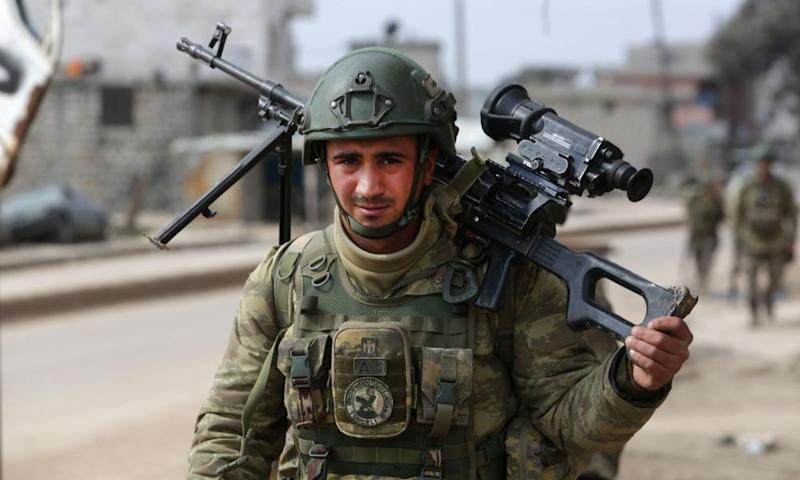 A Turkish soldier on patrol in Syria's Aleppo province last week.