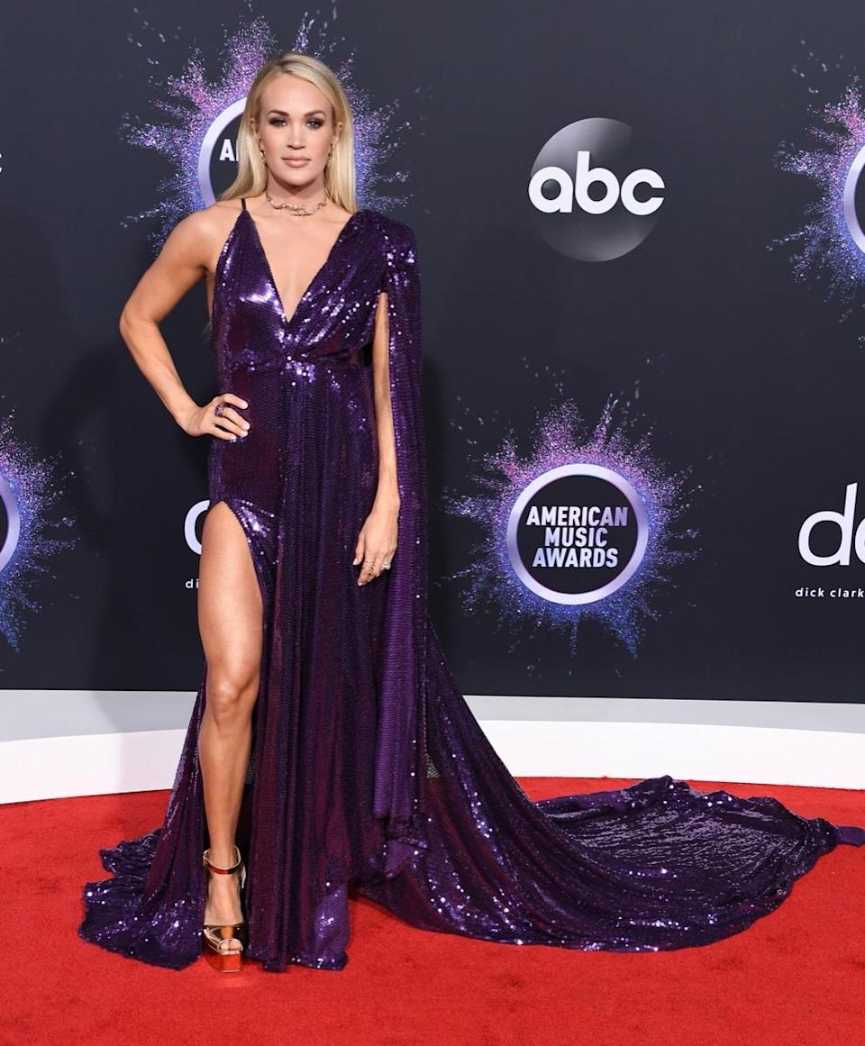 LOS ANGELES, CALIFORNIA - NOVEMBER 24: Carrie Underwood arrives at the 2019 American Music Awards at Microsoft Theater on November 24, 2019 in Los Angeles, California. (Photo by Steve Granitz/WireImage)