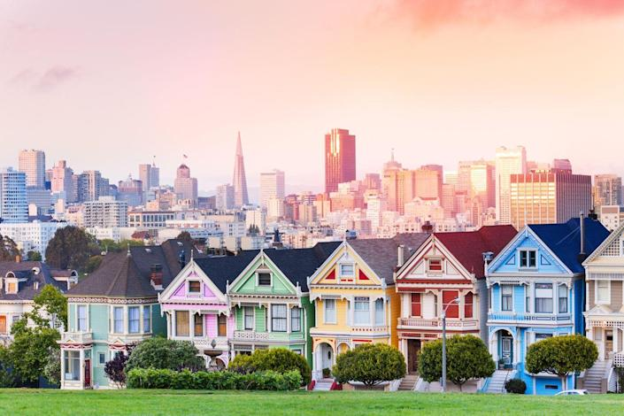 """<p>San Francisco boasts an impressive collection of architectural wonders, but none may be as famous as the colorful row of Victorian homes in Alamo Square. Often referred to as """"the Painted Ladies"""" or """"Postcard Row,"""" the Queen Anne–style houses were built between 1892 and 1896 by developer Matthew Kavanaugh on Steiner Street. </p><p>Their front-facing gables, pastel colors, and lacy decorative details have garnered the attention of photographers and design-lovers alike for years. Fun fact: Alice Walker, author of <em>The Color Purple, </em>lived at 720 Steiner and was notorious for playing her music loudly. </p>"""