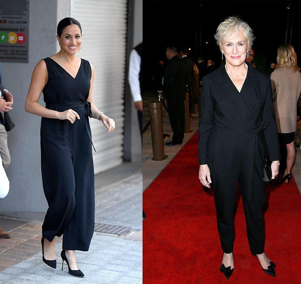 """<p>Fans freaked out when the Duchess of Sussex stepped out in a <a href=""""https://www.harpersbazaar.com/celebrity/latest/a29224557/meghan-markle-everlane-jumpsuit-royal-tour/"""" rel=""""nofollow noopener"""" target=""""_blank"""" data-ylk=""""slk:$120 Everlane jumpsuit"""" class=""""link rapid-noclick-resp"""">$120 Everlane jumpsuit</a> during her royal tour in South Africa in 2019. Earlier that year, Hollywood royalty Glenn Close sported a similar belted black jumpsuit at the Palm Springs International Film Festival. </p>"""