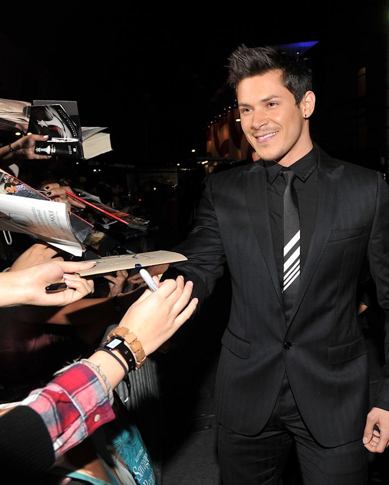 "<a href=""http://movies.yahoo.com/movie/contributor/1809690499"">Alex Meraz</a> at the Los Angeles premiere of <a href=""http://movies.yahoo.com/movie/1810158314/info"">The Twilight Saga: Breaking Dawn - Part 1</a> on November 14, 2011."